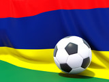 Flag of mauritius with football in front of it