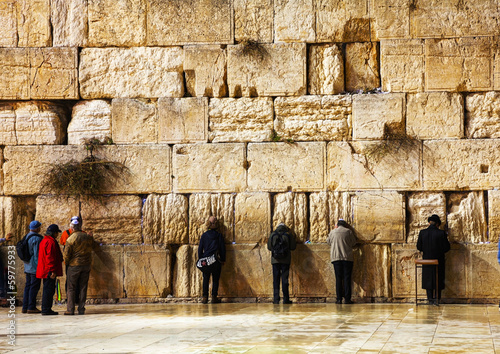 Foto op Canvas Temple The Western Wall in Jerusalem, Israel in the night