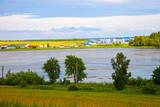 Rural landscape of Hrebenne in eastern Poland. poster