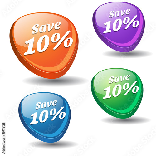 Save 10 Percent Colorful Modern Vector Icon