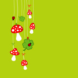 Fly Agarics, Cloverleafs & Ladybugs Green