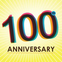 100th Anniversary poster / template design in retro style