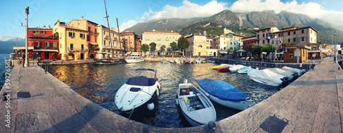 canvas print picture Hafen Am Gardasee - Malcesine