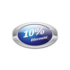 Shiny Glossy 10 Percent discount Blue Icon Button