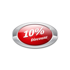 Shiny Glossy 10 Percent discount Red Icon Button