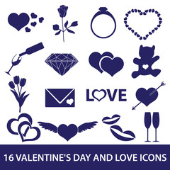 valentine's day and love icons eps10