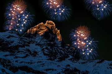 Fireworks over the Matterhorn