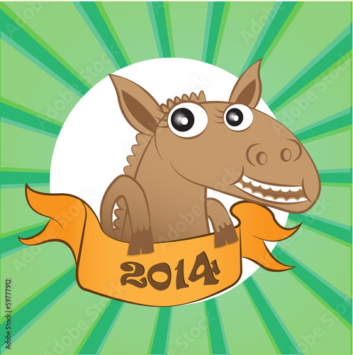 Horse with new year board