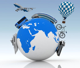 Types of transport on globe. Concept of international tourism