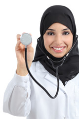 Front view of an arab doctor woman showing stethoscope