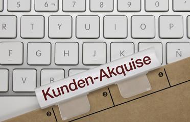 Kunden Akquise. Tastatur