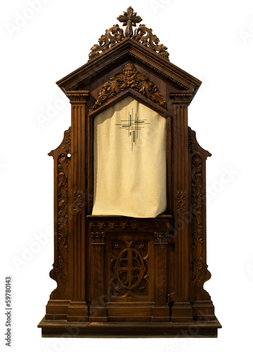 Church confessional isolated