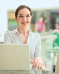 Businesswoman work on laptop
