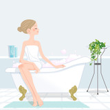 女性 バスルーム Youg woman sitting bathtub filled with pink bubble