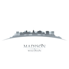 Madison Wisconsin city silhouette white background