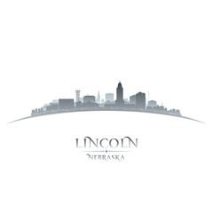 Lincoln Nebraska city silhouette white background