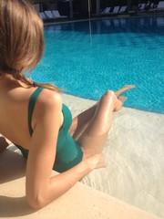 woman tanning