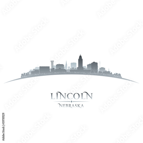Lincoln Nebraska city silhouette white background