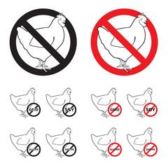 Set of Chicken sign NO 2 - red, black & white