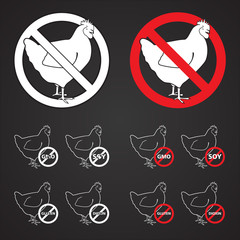 Set of Chicken sign NO 2 - white & red on black