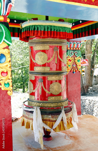 A big prayer wheel outside Hemis Monastery, Leh