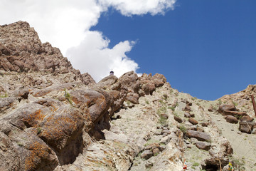 A stupa and Sedimentary rocks near Hemis monastery