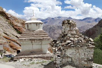 Relics of stupas in the Hemis Monastery complex, Leh