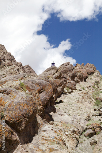 Beautiful inclined Sedimentary rocks near Hemis monastery