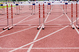 hurdles on the  running track