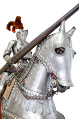 Knight on warhorse on white isolated background