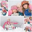 Collage enfants jouant dans la neige