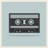 Audio  Compact Cassette Tape on Retro Background