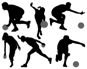 Black silhouettes of bowling, vector