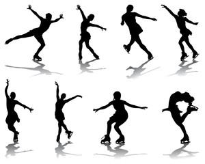 Silhouettes and shadows of skating, vector