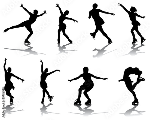Silhouettes and shadows of skating, vector