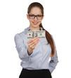 Girl holding a hundred dollar bill