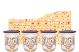 Matzah and four cups of wine for the Passover seder