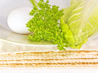 Passover seder matza,egg,parsley,lettuce