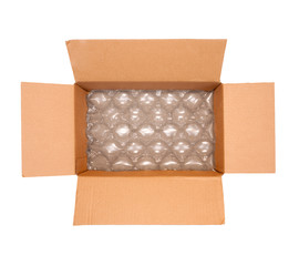 Bubble wrap inside shipping box, mailing concept, isolated
