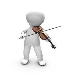 A 3D person enjoying playing violin.