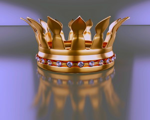 Gold crown with diamond, abstract illustration