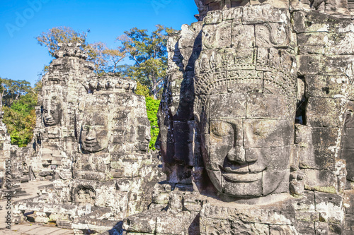Faces of ancient Bayon Temple At Angkor Wat