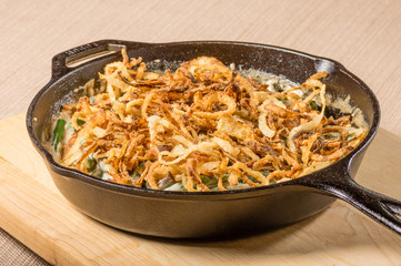 Fried onions in a cast iron skillet