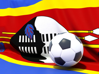 Flag of swaziland with football in front of it