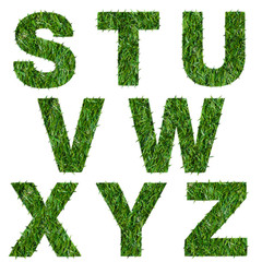 Letters s,t,u,v,w,x,y,z made of green grass isolated on white