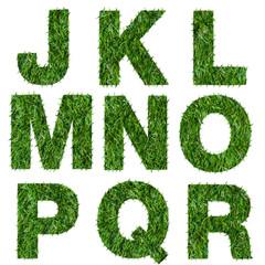 Letters j,k,l,m,n,o,p,q,r made of green grass isolated on white