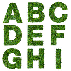 Letters a,b,c,d,e,f,g,h,i made of green grass isolated on white