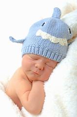 smiling newborn baby in shark hat