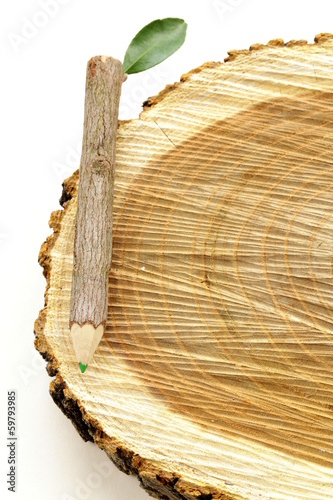 natural wooden pencil with green leaf on white background