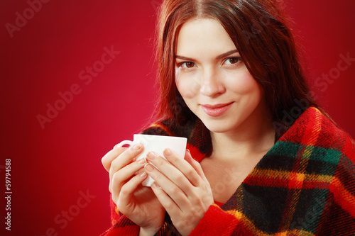canvas print picture woman covered with woolen plaid